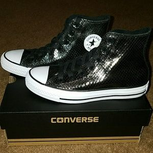 Womens Converse Shiny Black Snake Skin Shoes