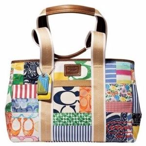AUTHENTIC Coach Hamptons Weekend Patchwork Tote
