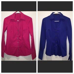 Set of 2 Express XS button down shirts pink & blue