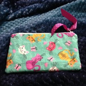 Adorable Kitty handmade, lined accessory bag.