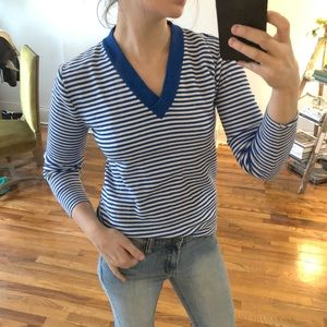 Vintage Blue and White Striped VNeck Sweater