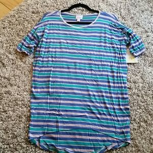Pink, blue and teal striped Lularoe Irma tunic