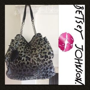 BetsyJohnson Bag leopard print black silver sequin