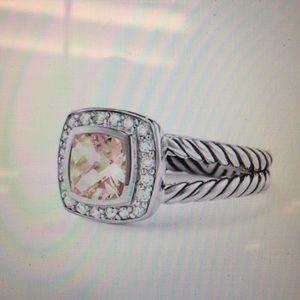 David Yurman ring with morganite and diamonds