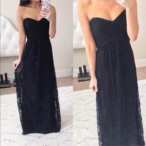 Brand New AMSALE Black Lace Strapless Formal Dress