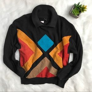Vintage 80's Leather Color Block Black Sweater