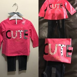 Cute Runs In the Family 2PCS Denim Outfit