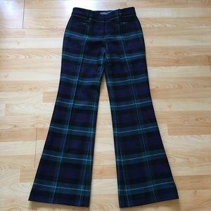 LL Bean Wool Plaid Boot Leg Lined Pants