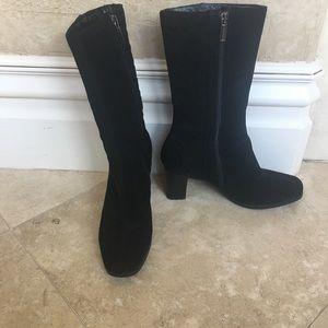 Aquatalia Heeled Quilted Black Boots