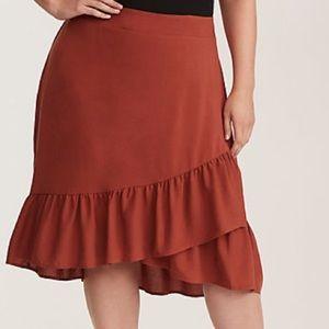Ruffled Challis Wrap Skirt