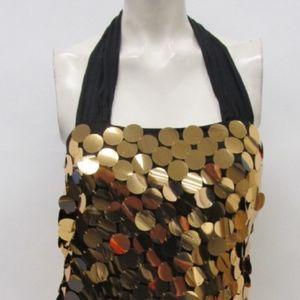 Alice & Olivia Copper Round Sequin Halter Dress S