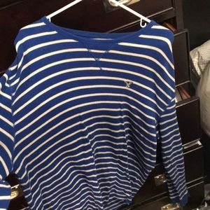 American Eagle Men's Blue and White sweater