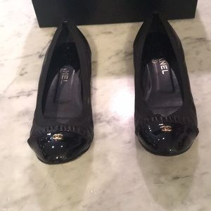 Chanel Black Stretch Can Can Ballet Flat Size 39.5
