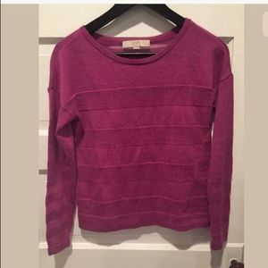 ANN TAYLOR LOFT sweater sheer striped pink