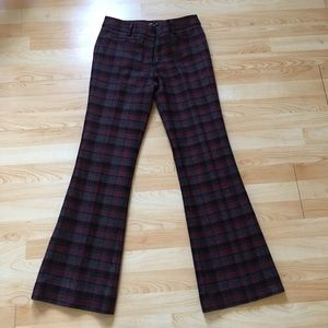 Cranberry Plaid LL Bean Wool Pants