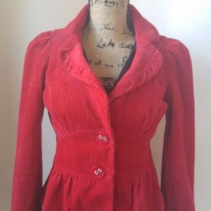 Anthropologie Elevenses Short Red Corduroy jacket