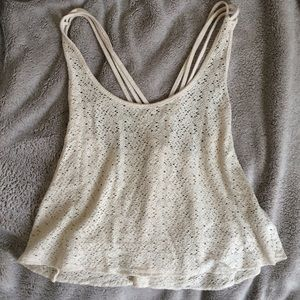 Forever 21 Cream Crop Top with Criss-Cross Straps