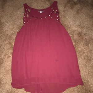 Charlotte Russe Maroon studded tank top