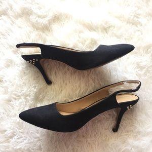 Zara Studded Black Suede Slingback Heels