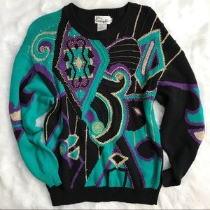 Vintage 80's Beaded Black Teal Graphic Sweater