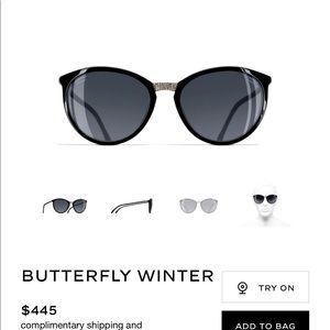 Chanel Butterfly Black w Gold Sunglass New $450.00