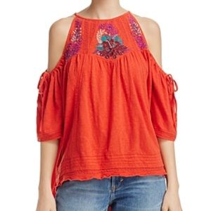 NWT Free people embroidered cold shoulder top