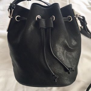 Forever 21 Small Black Drawstring Bucket Purse