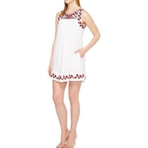 Lucky Brand White Red Embroidered Shift Dress L