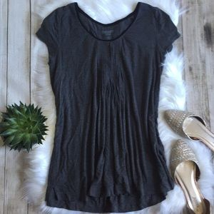DKNY | Pleated Front Gray Short Sleeve Blouse