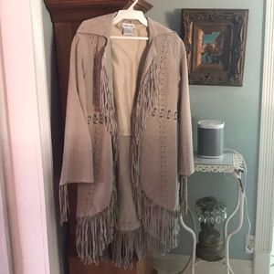 Taupe Suede Fringe Jacket - Wet Seal