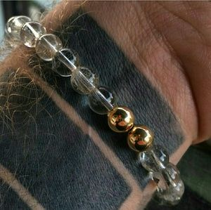 Rutilated Quarts Bracelet with Gold accents