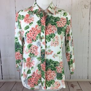 Anthropologie Floral Button Down Shirt Size 10