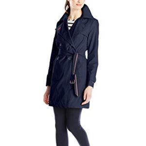 Tommy Hilfiger Navy Double Breasted Trench Coat S