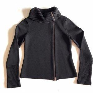 Asymmetrical  Black Knit Moto Jacket- Loft