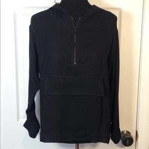Zara silk light weight black hoodie blouse Small