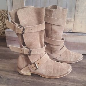 MAJE MOTO STYLE SLOUCHY BUCKLE BOOTS IN TAN SUEDE