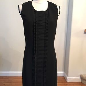 Calvin Klein black dress with pleated detail front