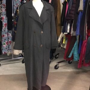 women's Gray collared double breasted overcoat