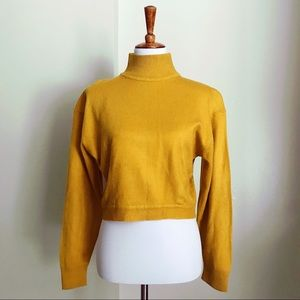Vintage Express Mustard Yellow Crop Turtleneck