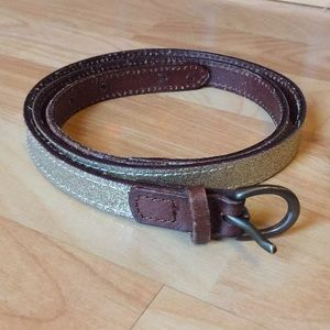 ✨Gold glitter leather belt✨