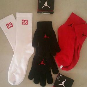 2 pairs kid's Air Jordan Socks and 1 pair Gloves