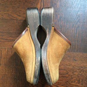 Vintage J. Crew Real Leather Suede Wooden Clogs