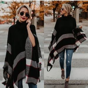 New Comfy Chic Turtleneck Poncho