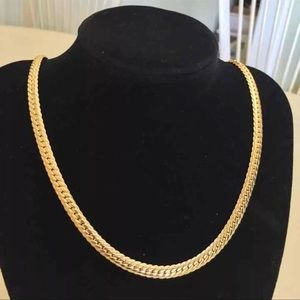 "22"" New real 18K gold plated unisex necklace"