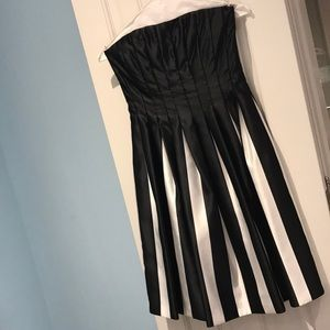 Black & White Strapless BCBG Dress