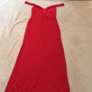 Long, red dress with over-the-shoulder straps