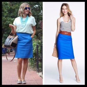j. crew // no. 2 cotton pencil skirt in royal blue