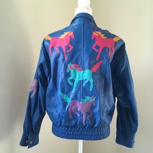 Vtg 80's Blue Faux Leather Horse Appliqué Jacket