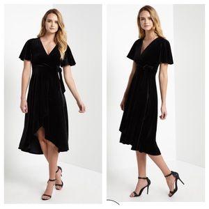 Night sky black velvet wrap dress