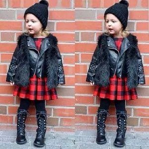 D&R BOUTIQUE- Toddler Smooth Black Fur Vest